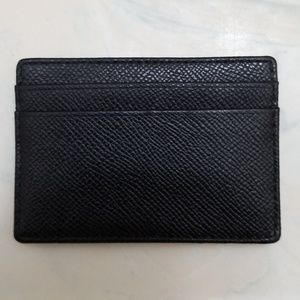 COACH Black Leather Card Holder, Money Clip